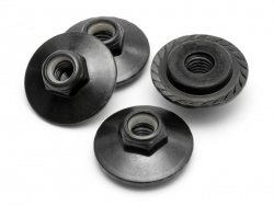 FLANGED LOCK NUT M5x8mm BLACK/4pcs Z680