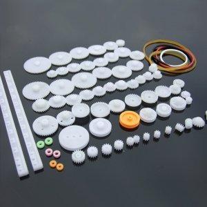 Zestaw 75 kół zębatych i zębatek z tworzywa - do budowy mechaniki robotów