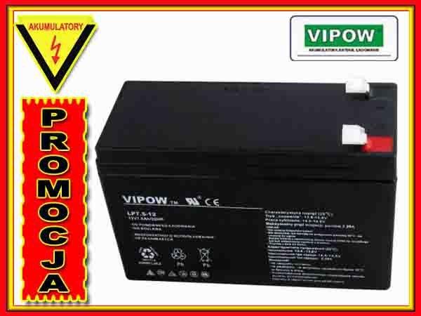 BAT0214 Akumulator żelowy VIPOW 12V 7.5Ah
