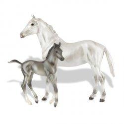 BREYER Koń ze źrebakiem GreyThoroughbred