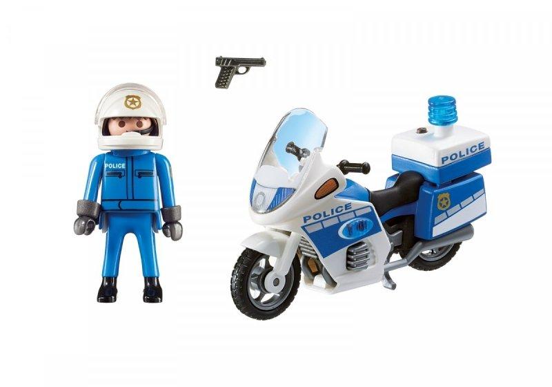PLAYMOBIL CITY ACTION MOTOR POLICYJNY ZE ŚWIATŁEM LED 6923 4+