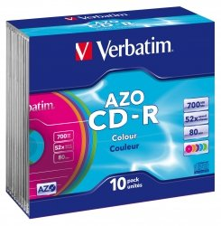 1x10 Verbatim Data Life Plus 52x CD-R 80 700MB, Colour Slim