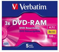 1x5 Verbatim DVD-RAM 4,7GB 3x Speed, Jewel Case, o. Cart.