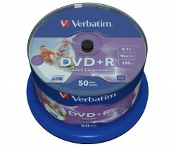 1x50 Verbatim DVD+R 4,7GB 16x Speed, wide printable NON-ID