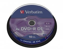 1x10 Verbatim DVD+R Double Layer 8x Speed, 8,5GB matowy srebrny