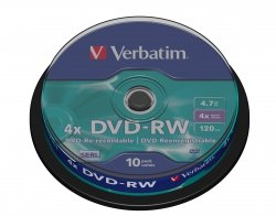 1x10 Verbatim DVD-RW 4,7GB 4x Speed, matte silver Cakebox