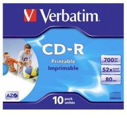 1x10 Verbatim Data Life Plus JC CD-R 80 / 700MB, 52x, printable