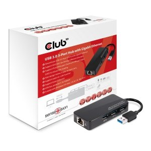 Club3D Adapter USB 3.0 Typ A > 3x USB 3.0 Typ A/LAN retail