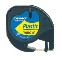 Dymo Letratag Plastic tape yellow 12mm x 4m           91222