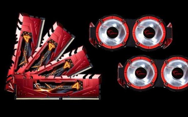 G.Skill 16GB DDR4-3300 Quad-Kit, czerwony F4-3300C16Q-16GRRD, Ripjaws 4
