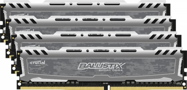 Crucial Ballistix Sport LT 64GB Kit 16GBx4 DDR4 2400 288pin grey