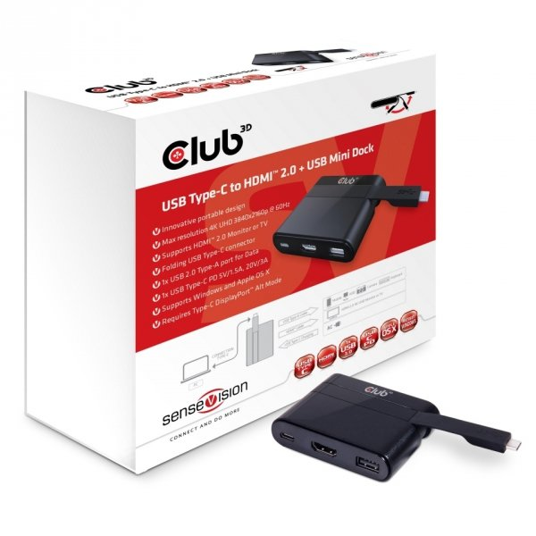 Club3D Adapter USB 3.0 Typ C > HDMI 2.0/USB/USB-C MiniDock retail