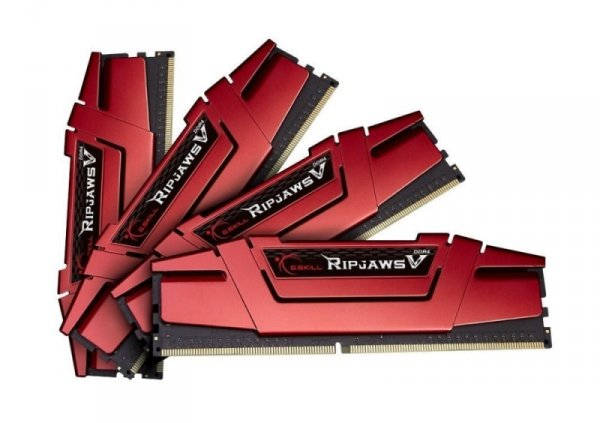 G.Skill 32 GB DDR4-2400 Quad-Kit, czerwony F4-2400C15Q-32GVR, Ripjaws V