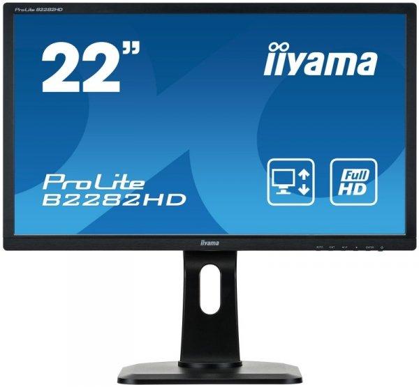 iiyama ProLite B2282HD, LCD-Monitor czarny, DVI (HDCP), VGA, Pivot