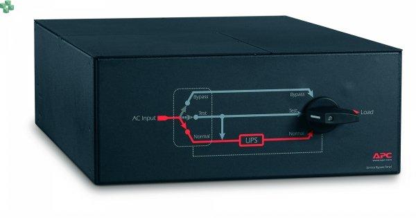 SBP16KRMI4U Panel obejścia serwisowego APC — 230 V; 100 A; MBB (najpierw zwarcie, potem rozwarcie); wejście podłączone na stałe; (3) wyjścia 30 A podłączone na stałe