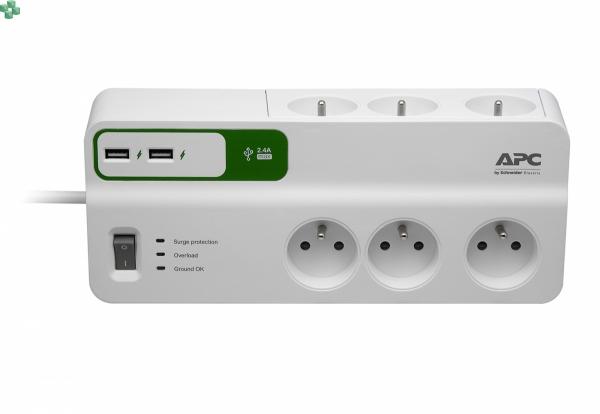 PM6U-FR listwa przeciwprzepięciowa - APC Essential SurgeArrest, 6 gniazd zasilających z 2-portową ładowarką USB 5 V, 2,4 A, 230 V, Francja