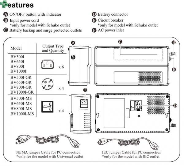 BV1000I APC EASY UPS BV 1000VA/600W, AVR, gniazda IEC, 230V