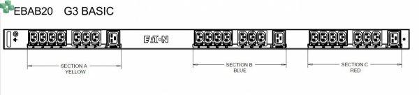 EBAB20 Listwa PDU EATON EPDU BA 0U (309 32A 3P) 6 x C19