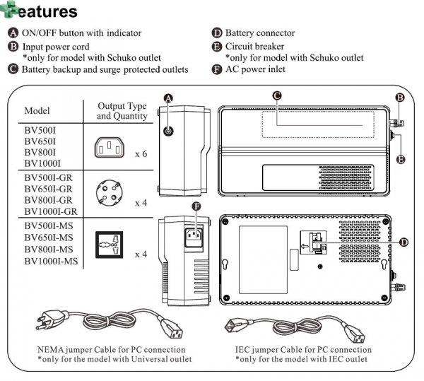 BV800I APC EASY UPS BV 800VA/450W, AVR, gniazda IEC, 230V