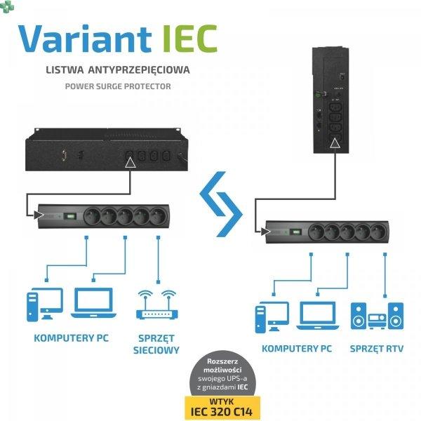 Listwa antyprzepięciowa EVER VARIANT IEC - T/LZ09-VAR020/0400