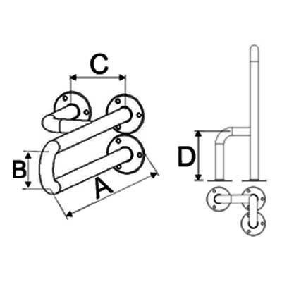 Uchwyty Umywalkowe Stałe Prawe/Lewe INOX fi 32mm - Różne Rodzaje