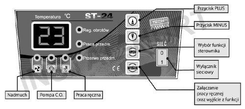 Sterownik do kotła,pieca,pompy,nadmuchu ST-24
