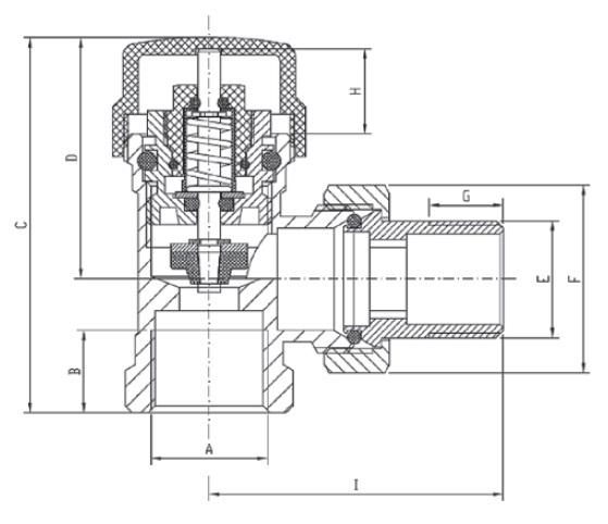 Komplet Termostatyczny Kątowy Zawór Głowica Grafitowy Antracyt Invena CD-80-K15