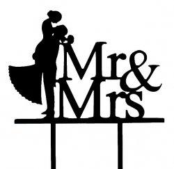 Dekoracja tortu ślubnego/topper PARA MŁODA Mr&Mrs