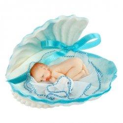 Bobas w muszelce niebieski - dekoracja na chrzest baby shower