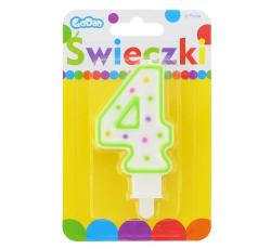 Świeczka urodzinowa na tort z kolorową obwódką i kropeczkami - cyfra 4
