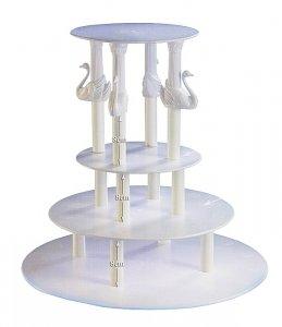 Kardasis - stojak okrągły na tort weselny 4 Kolumny z łabędziami
