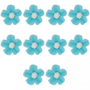 Kwiatki cukrowe na tort NIEZAPOMINAJKA (8x10szt) niebieskie