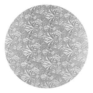 Podkład pod tort okrągły gruby 1,2cm SREBRNY 25cm (wzór liście)