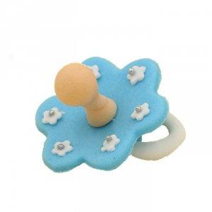 Cukrowa dekoracja figurka na tort SMOCZEK niebieski - chrzest, baby shower