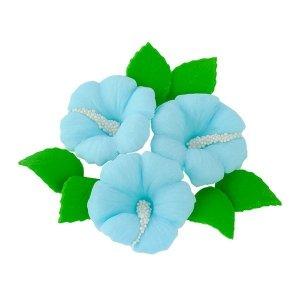 Zestaw cukrowe kwiaty HIBISKUS z listkami NIEBIESKI