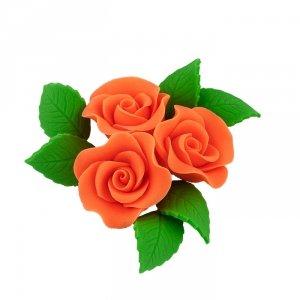 Zestaw cukrowe kwiaty na tort 3 RÓŻE MINI MAX z listkami POMARAŃCZOWY