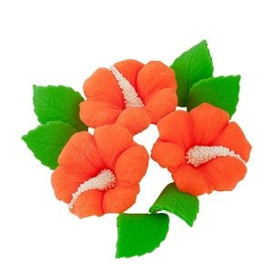 Zestaw cukrowe kwiaty HIBISKUS z listkami POMARAŃCZOWY
