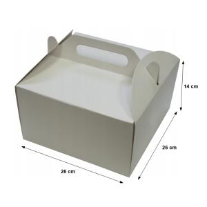 Pudełka kartonowe na tort ciasto z rączką 26x26X14cm - 10szt