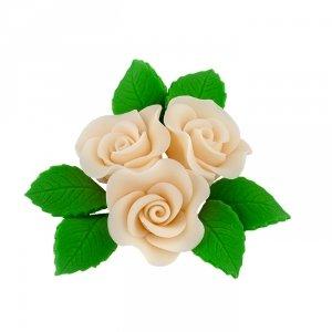 Zestaw cukrowe kwiaty na tort 3 RÓŻE MINI MAX z listkami ECRU