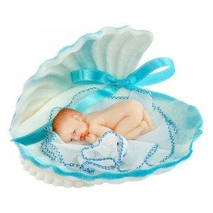 Bobas w muszelce niebieski - figurka na tort - chrzest baby shower