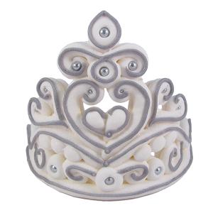 Cukrowa dekoracja figurka na tort KORONA srebrna 1szt