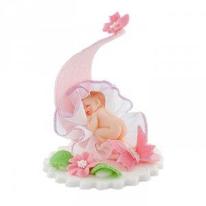 Bobas z motylkami różowy - dekoracja na chrzest baby shower