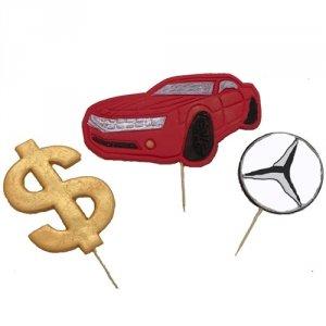 Cukrowa dekoracja na tort pikery 2D BIZNES samochód dolar MERCEDES