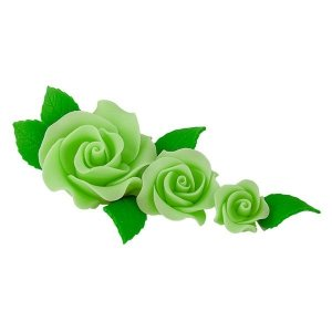 Zestaw cukrowe kwiaty na tort 3 RÓŻE z listkami ZIELONE