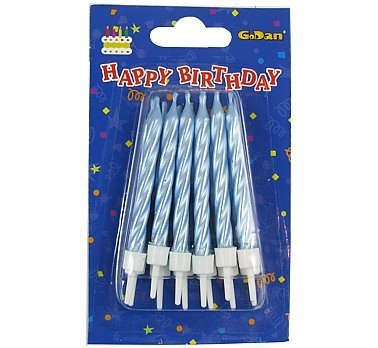 Świeczki urodzinowe spiralne - niebieskie