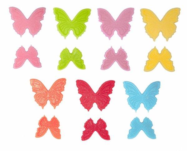 Motylki cukrowe kolorowe MIX komplet 8x14 szt.