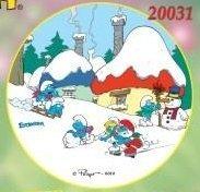Kardasis - opłatek na tort okrągły Wioska Smerfów Zima