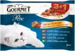 GOURMET Perle - Mięsne Duety w sosie 4x85g: z kurczakiem i wołowiną, z indykiem i jagnięciną, z cielęciną i kaczką, z królikiem i dziczyzną. Dla dorosłych kotów. 3+1 gratis