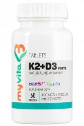 Natural Vitamin K2 MK7 100mcg + D3 2000IU -Forte, 60 tablets MyVita