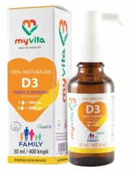 Vitamin D3 Family 400IU - 2000IU Children and Adults, Myvita, 30ml